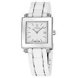 Fendi Women's Rectangular Swiss Made Quartz Crystal Accented White Ceramic Bracelet Watch - 661-971
