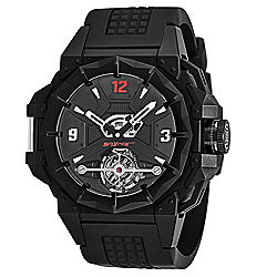 Snyper Men's 43mm Swiss Made Mechanical Tourbillon Open Heart Dial Rubber Strap Watch