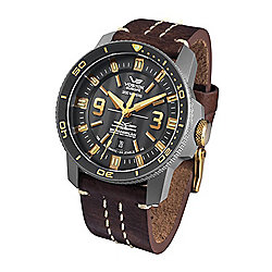Vostok-Europe Men's 47mm Ekranoplan Caspian Sea Monster Automatic Black Dial Watch w/ 2 Straps