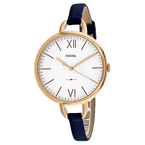 Fossil Women s Annette Quartz White Dial Navy Blue Leather Strap Watch -  EVINE 754dfdb9dd