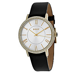 DKNY Women's Willoughby Quartz Gold-tone Black Leather Strap Watch