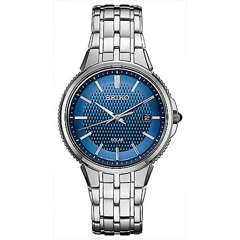 ecfd8c54f 662-374- Seiko Men s 40mm Essentials Solar Quartz Date Blue Dial Stainless  Steel Bracelet