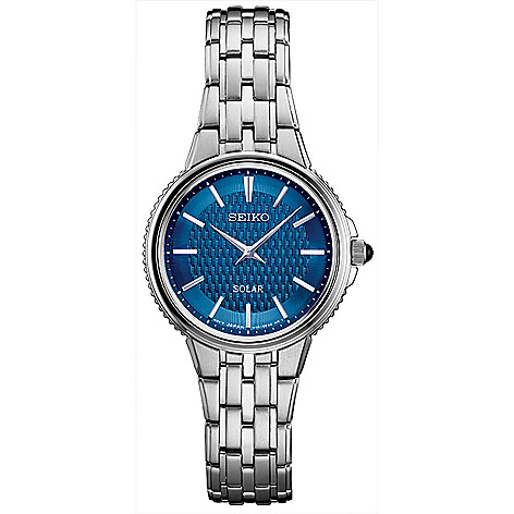 f3903aced 662-376- Seiko Women s Essentials Solar Quartz Blue Dial Stainless Steel  Bracelet Watch