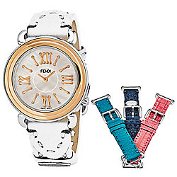 Fendi Women's Selleria Swiss Made Quartz Mother-of-Pearl Dial Watch w/ 4-Piece Leather Strap Set