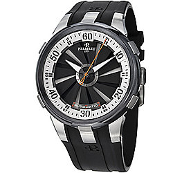 Perrelet Men's 50mm Turbine XL Swiss Made Automatic Black & Silver Dial Rubber Strap Watch