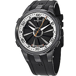 Perrelet Men's 50mm Turbine XL Swiss Made Automatic Black & White Dial Rubber Strap Watch