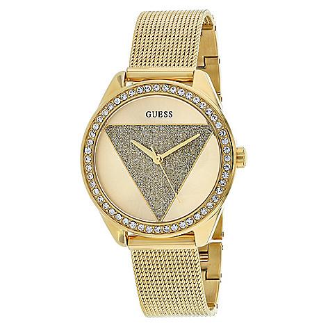 b1c0c6fd5 663-104- Guess Women's Tri Glitz Quartz Crystal Accented Gold-tone  Stainless Steel