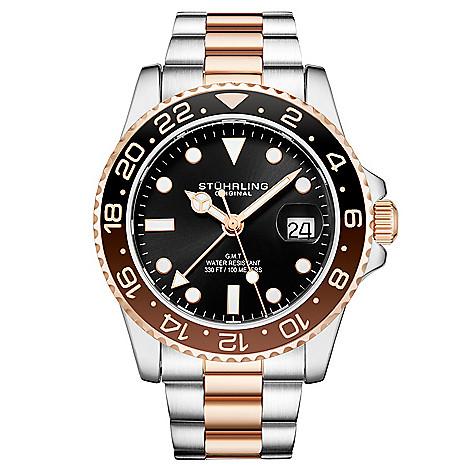 0440be3fb 663-233- Stührling Original Men's 42mm Aquadiver Meridian Swiss Quartz GMT  Date Bracelet Watch