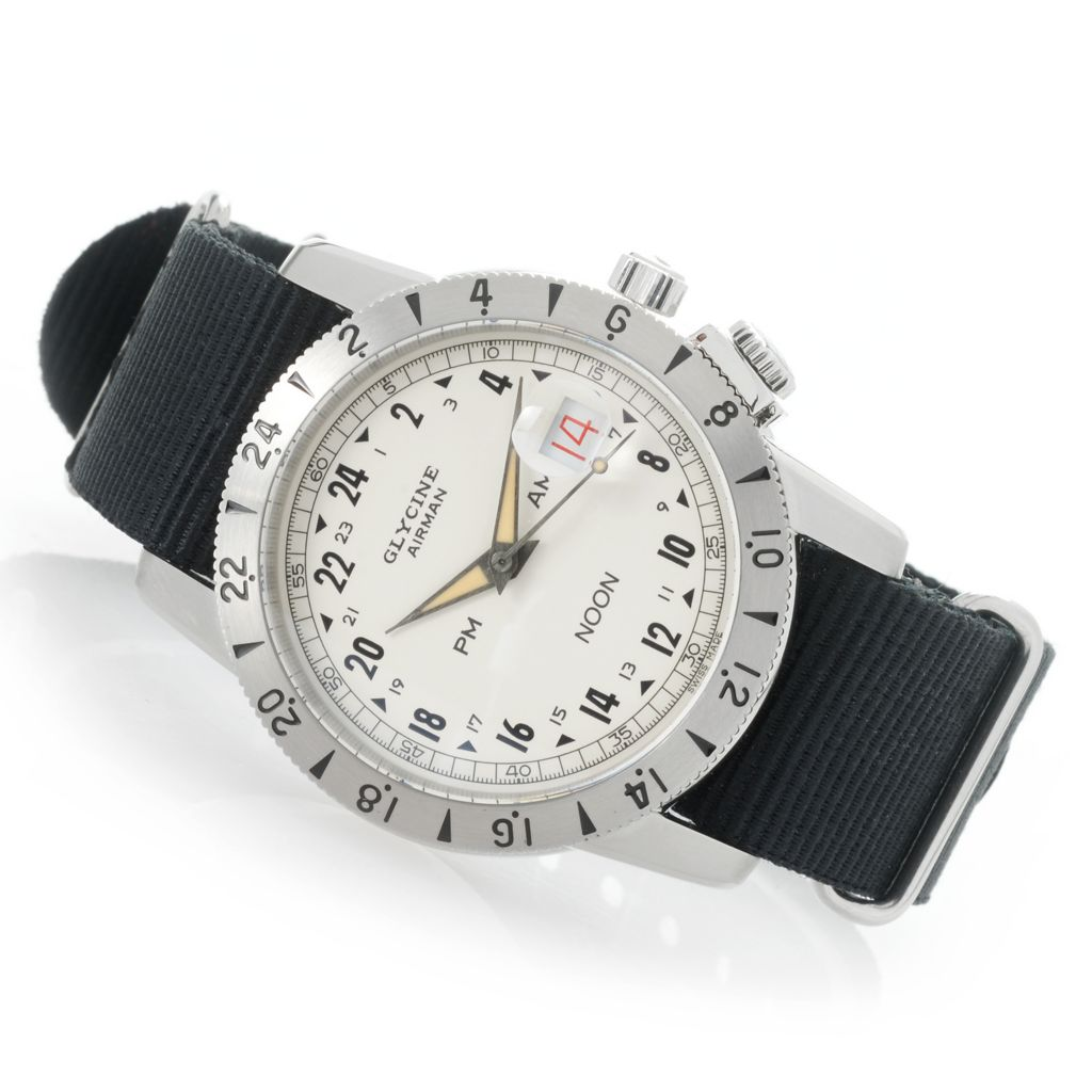 Glycine Men S 42mm Airman Limited Edition Swiss Made Automatic 24 Hour Nato Canvas Strap Watch