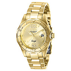 Invicta Women's Angel Quartz Crystal Accented Gold-tone Stainless Steel Bracelet Watch