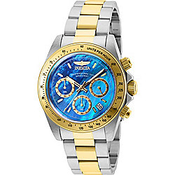 Invicta 40mm Speedway Quartz Chronograph Date Blue Mother-of-Pearl Dial Two-tone Bracelet Watch