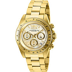 Invicta 40mm Speedway Quartz Chronograph Date Mother-of-Pearl Dial Gold-tone Bracelet Watch