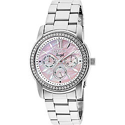 Invicta Women's Angel Quartz Chronograph Date Crystal Accented Pink Mother-of-Pearl Bracelet Watch
