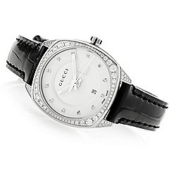 Gucci Women's Swiss Made Quartz 0.78ctw Diamond Sapphire Crystal Leather Strap Watch