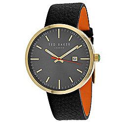 4cdbb798d Ted Baker Men s 41mm Classic Quartz Date Grey Dial Black Leather Strap Watch