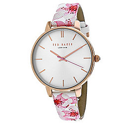 2adcb4f3b Ted Baker Women s Classic Quartz White Floral Leather Strap Watch