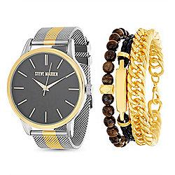 Steve Madden Men's 46mm Quartz Black Dial Two-tone Mesh Bracelet Watch    Trio Bracelet 727f453db93e