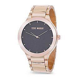 Steve Madden Men's 42mm Quartz Black Dial Rose-tone Bracelet Watch 1a0746dfbad7