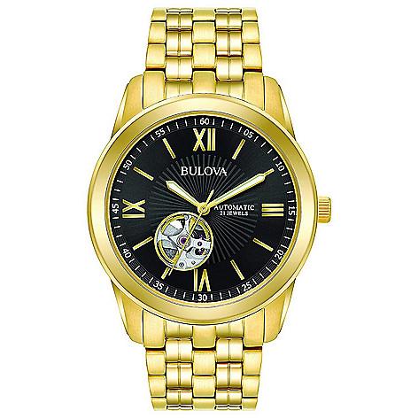a17104b4b0b7 664-611- Bulova Men's 42mm Automatic Black Dial Gold-tone Bracelet Watch