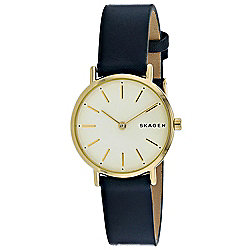 f8a9ab89f Image of product 664-688. QUICKVIEW. Skagen Women's Signatur Quartz Yellow  Dial Black Leather Strap Watch