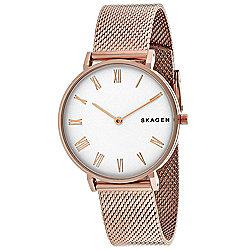 1be69c11a Skagen Women's Hald Quartz White Dial Rose-tone Stainless Steel Bracelet  Watch