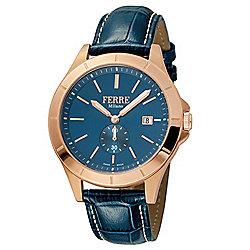 Ferre Milano - 664-849 Ferre Milano Men's 43mm Swiss Made Quartz Blue Leather Strap Watch - 664-849
