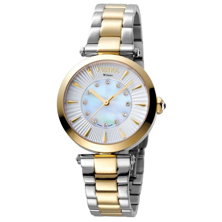 Watch Flash Sale at ShopHQ | 664-866 Ferre Milano Women's Swiss Quartz Crystal Accented White Dial Two-tone Bracelet Watch