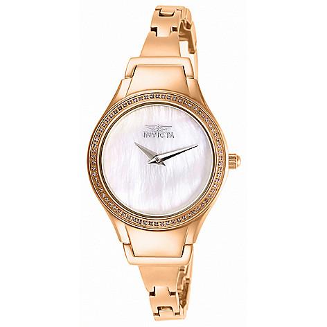 """As_Is""_Invicta_Women's Angel_Quartz 0.26ctw_Diamond_Bracelet_Watch w__2_Cuff_Bracelets"