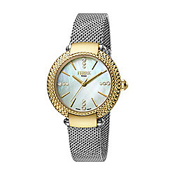 Ferre Milano Women's Swiss Made Quartz Crystal Accented Mother-of-Pearl Dial Bracelet Watch