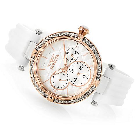 invicta women s bolt quartz day date white polyurethane strap watch