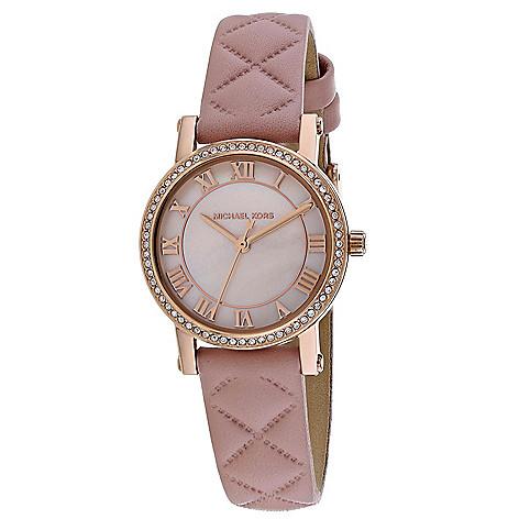 df7717a28f92 Michael Kors Women s Petite Norie Quartz Mother-of-Pearl Dial Pink ...