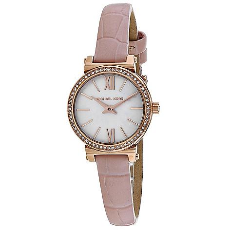 0eda86f75908 Michael Kors Women s Sofie Quartz Mother-of-Pearl Dial Pink Leather ...