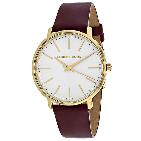 ddc92645fb0b 666-167- Michael Kors Women s Pyper Quartz Crystal Accented Leather Strap  Watch