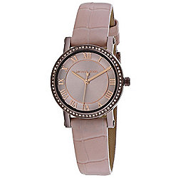 5850a60f4bf9 Michael Kors Women s Norie Quartz Crystal Accented Pink Leather Strap Watch