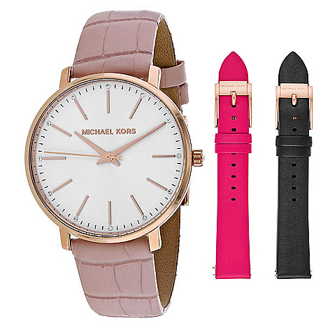 e51c187a0 666-180- Michael Kors Women's Pyper Quartz Leather Strap Watch Set