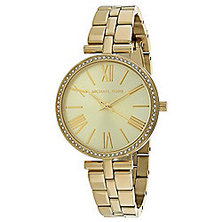 69e3b73bc41c Michael Kors Women s Maci Quartz Crystal Accented Gold-tone Stainless Steel  Bracelet Watch