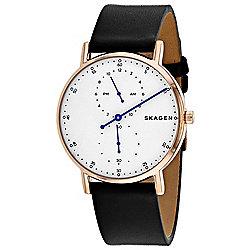 3cb3ffebb Skagen Men's 40mm Signatur Quartz Rose-tone Bezel White Dial Black Leather  Strap Watch