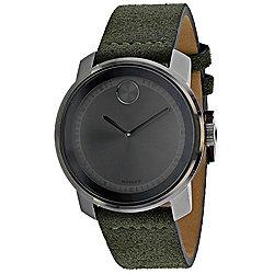 Movado Men's 42mm Bold Quartz Black Dial Green Leather Strap Watch d847586a4a13