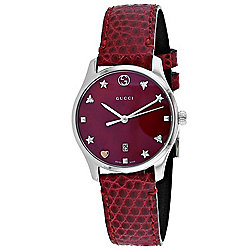 fa222d092 Gucci Women s G-Timeless Swiss Quartz Red Dial   Leather Strap Watch