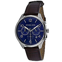 Michael Kors Men's 42mm Classic Quartz Blue Dial Brown Leather Strap Watch