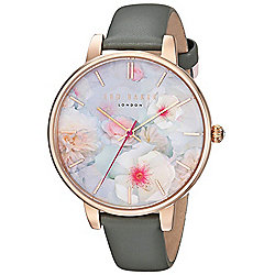 aa870057b Ted Baker Women s Kate Quartz Floral Dial Grey Leather Strap Watch