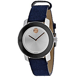 1cfc48a2038 Movado Women s Bold Quartz Silver-tone Dial Blue Leather Strap Watch