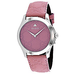 194c07569 Gucci Women s G-Timeless Swiss Quartz Silver-tone Bezel Pink Leather Strap  Watch