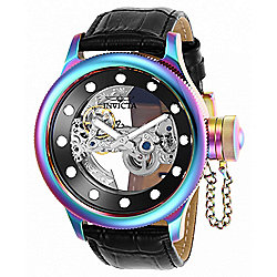 91aeeadec Image of product 667-037. QUICKVIEW. Invicta Men's 52mm Russian Diver Ghost  Iridescent Automatic Skeletonized Leather Strap Watch