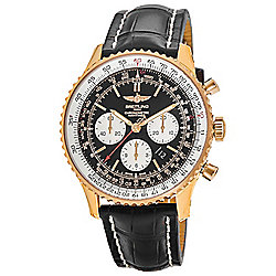 Breitling Men's 43mm Navitimer Swiss Automatic Chronograph Black Dial Black Crocodile Strap Watch