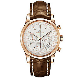 Breitling Men's 43mm Transocean Swiss Automatic Chronograph Cream Dial Brown Crocodile Strap Watch