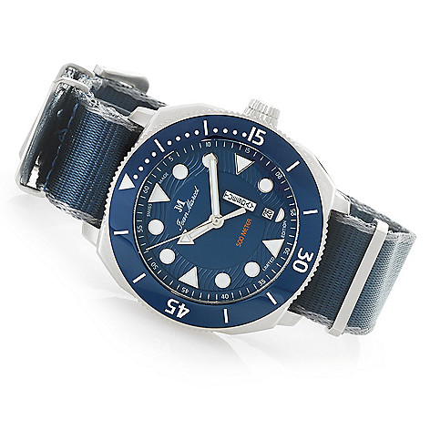 Jean Marcel Men's 44mm Oceanum, Limited Edition Swiss Made Automatic Canvas  Strap Watch on sale at shophq com