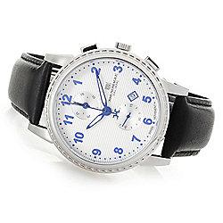 Bruno Magli - 667-395 Bruno Magli Men's 43mm Dante Swiss Quartz Chronograph Leather Strap Watch - 667-395