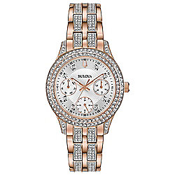 Bulova Women's Quartz Crystal Accented Bezel Rose-tone Stainless Steel Bracelet Watch