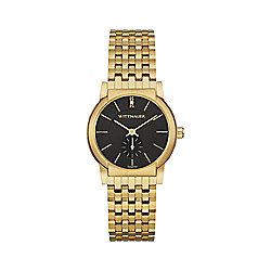 Wittnauer Women's Quartz Diamond Accented Black Dial Gold-tone Stainless Steel Bracelet Watch